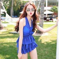 Rachel Swimwear - Set: Halter Layered Tankini Set + Skirt