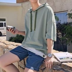 Basique - Short-Sleeve Loose-Fit Hooded Top