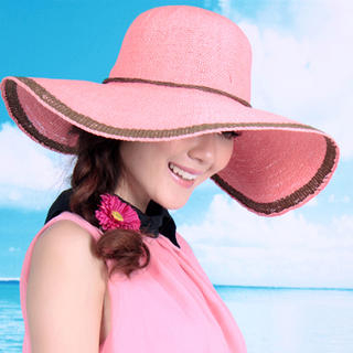 Momiton - Contrast-Trim Straw Sun Hat
