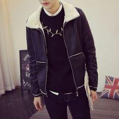 Jimboy - Fleece Lined Faux Leather Jacket