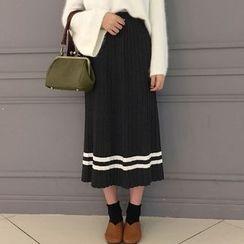 Cloud Nine - Pleated Striped Midi Skirt