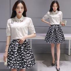 Ashlee - Set: Short-Sleeve Embroidered Blouse + Patterned Skirt
