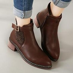 Mancienne - Pointy-Toe Buckled Paneled Ankle Boots