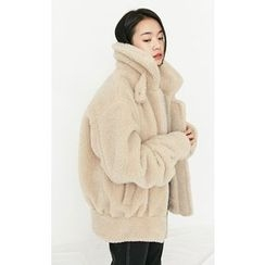 Someday, if - Zip-Up Faux-Shearling Oversized Jacket
