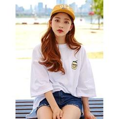 icecream12 - 印花刺繡寬鬆T恤