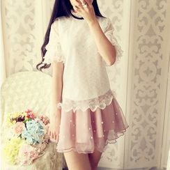 Cobblestone - Short-Sleeve Lace Ruffled Top