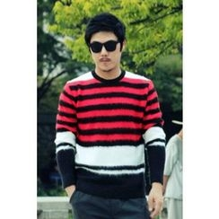 Ohkkage - Round-Neck Color-Block Stripe Sweater