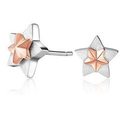 MBLife.com - Left Right Accessory -  925 Sterling Silver Two Tone Double Stars Satin Finish Stud Earrings, Women Girl Fashion Jewellery
