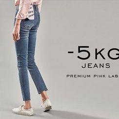 chuu - Slit-Knee Washed Slim-Fit Jeans