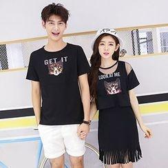 Azure - Couple Matching Cat Print Short Sleeve T-Shirt / Set: Mesh T-Shirt + Dress