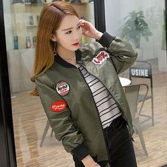 Heybabe - Patch Embroidered Bomber Jacket