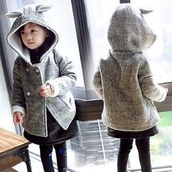 Rakkaus - Kids Fleece-Lined Hooded Double-Breasted Coat