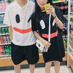 Evolu Fashion - Smiley Face Print Short Sleeve Couple Matching T-Shirt