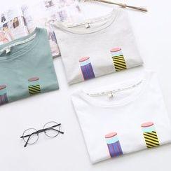 Vateddy - Pencil Print Short Sleeve T-Shirt