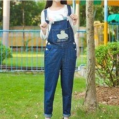 Rega - 刺绣背带牛仔裤