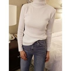 maybe-baby - Turtle-Neck Ribbed Knit Top