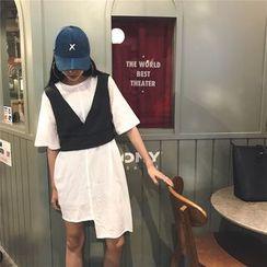 IndiGirl - 套裝:短袖連衣裙 + 馬甲