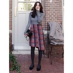 maybe-baby - Asymmetric-Hem Checked Skirt