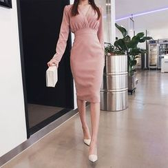 DABAGIRL - V-Neck Midi Sheath Dress