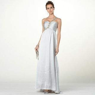 YesStyle Dress - One-Shoulder Beaded Bodice Evening Gown with Scarf