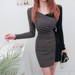 DABAGIRL - Tie-Waist Two-Tone Bodycon Dress