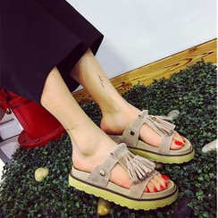 Sunsteps - Tasseled Platform Slide Sandals