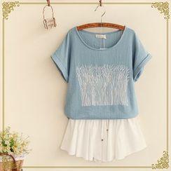 Fairyland - Printed Linen-blend Short-Sleeve Top