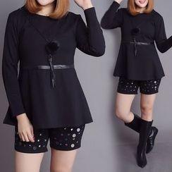 Rainbow Plus - 套裝: 純色長袖荷葉上衣 + 亮片短褲