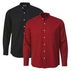 Seoul Homme - Mandarin-Collar Long-Sleeve Cotton Shirt (7 Colors)