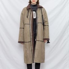 Heynew - Faux Suede Wool Coat
