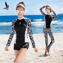 SANQI - Set : Zebra Print Rashguard + Swim Shorts / Pants