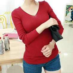 Dodostyle - V-Neck Ribbed Top
