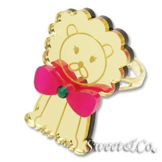 Sweet & Co. - Bowtie Lion Swarovski Mirror Gold Ring