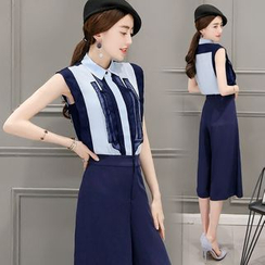 EFO - Set: Cap-Sleeve Paneled Blouse + Wide-Leg Pants / Shorts