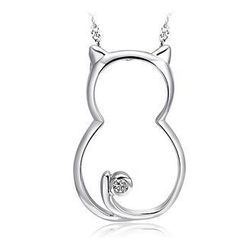 BELEC - 925 Sterling Silver Cat Pendant with White Cubic Zirconia and 45cm Necklace