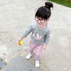 CUBS - 童裝套裝: 貼飾長袖T恤 + 褲子