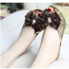 Freesia - Bow Kitten Heel Slide Sandals