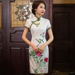 Miss Four Qipao - Floral Print Side Split Short Sleeve Qipao