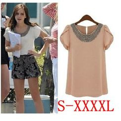 Persephone - Short-Sleeve Studded Chiffon Top