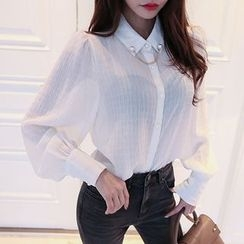 DABAGIRL - Balloon-Sleeve Sheer Blouse with Brooch