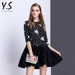 Y:Q - Swan Print Polka Dot A-Line Dress