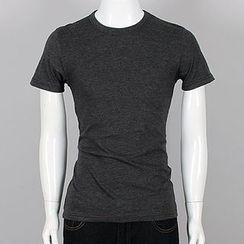 Seoul Homme - Plain Round-Neck T-Shirt