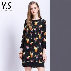 Y:Q - 3/4-Sleeve Printed Shift Dress