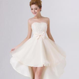 Annie Wedding - Strapless Lace-Panel Dip-Back Party Dress