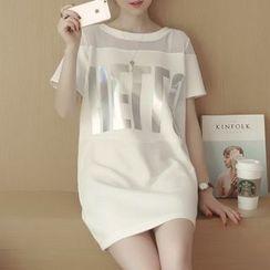 Ceres - Maternity Mesh Panel Lettering T-Shirt Dress