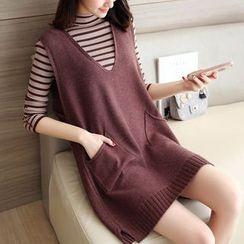 Autunno - Set: Mock-Neck Striped Knit Top + Sleeveless Knit Dress