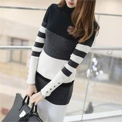 PIPPIN - Color-Block Rib-Knit Top