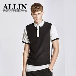 ALLIN - Contrast Trim Short Sleeve Polo Shirt
