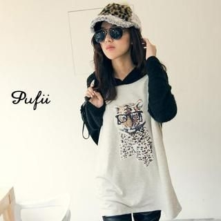 PUFII - Tiger-Print Hooded Baseball T-Shirt