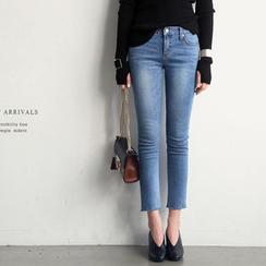 NANING9 - Fray-Hem Washed Skinny Jeans